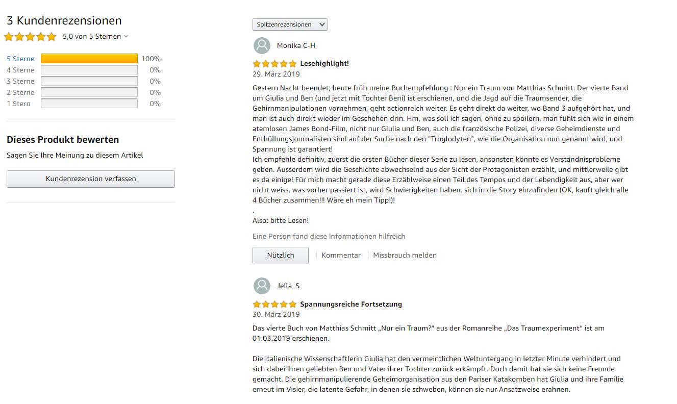 """Drei Fünf-Sterne-Rezensionen auf Amazon für """"Nur ein Traum?"""""""